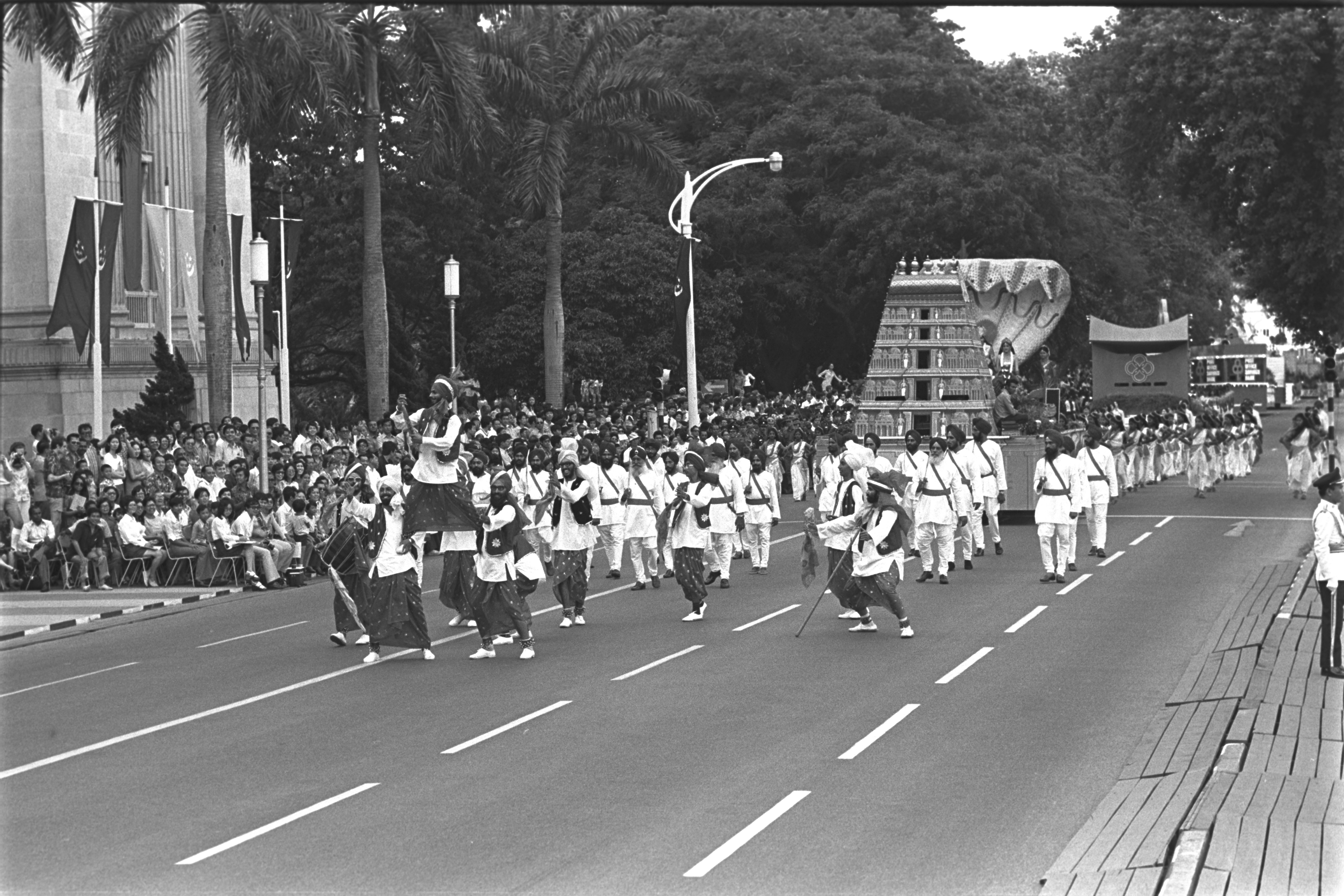 Photograph of a bhangra performance organised by Seva Singh Gandharab at the National Day Parade. Photo courtesy: Seva Singh Gandharab