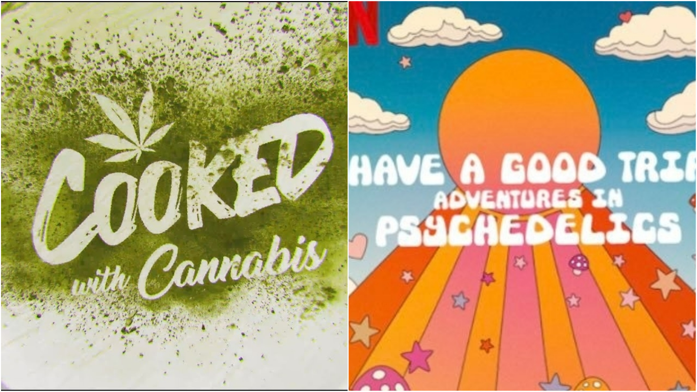 Netflix removed Cooked with Cannabis and Have A Good Trip: Adventures in Psychedelics from its Singapore service. Photos courtesy: Netflix & Twitter/goodtripnetflix
