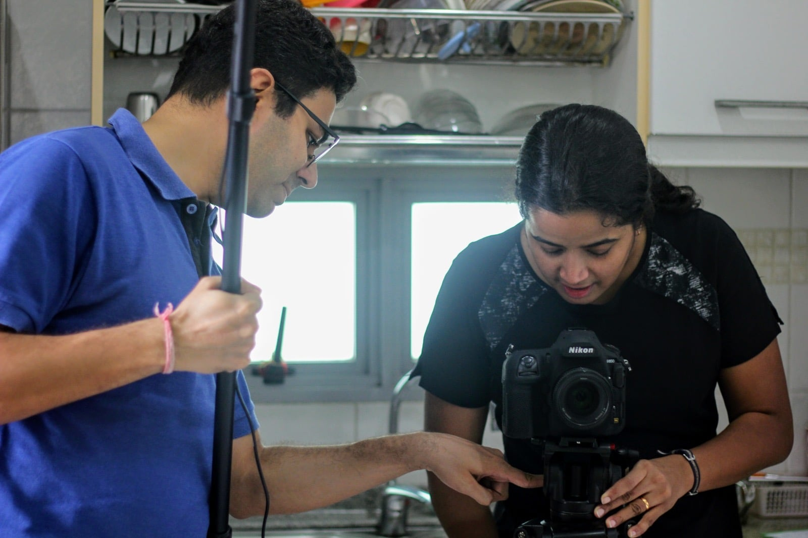 Black Dabba Production's Shivanu Shukla and Debutant Cinematographer Remya Warrier behind the scenes of Mini. Photo courtesy: Uma Kalyani