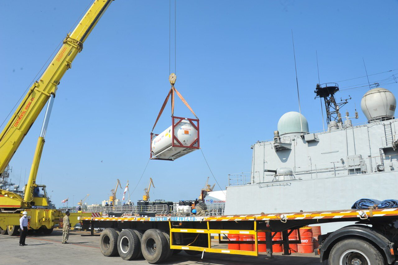 Qatar in collaboration with French Embassy sent liquid oxygen. Photo courtesy: MEA
