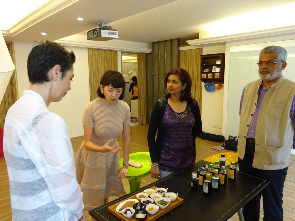 Learning about Ayurvedic herbs from Vasanthi Pillay, President of the Ayurveda Association of Singapore (AAOS). Photo courtesy: Vasanthi Pillay