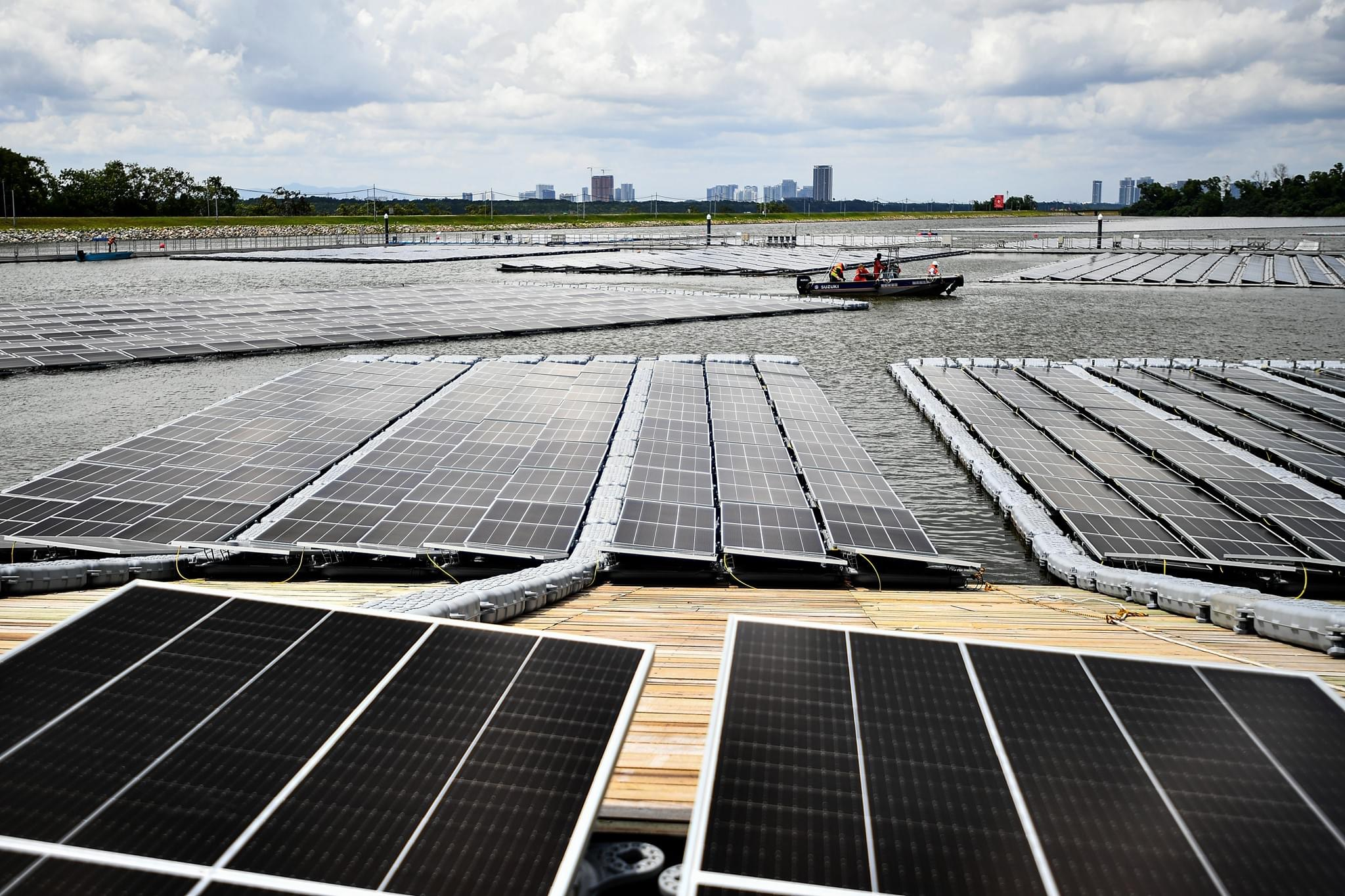Spanning 45 hectares - the equivalent of about 45 football fields - the Sembcorp Tengeh Floating Solar Farm contains 122,000 solar panels, which are durable enough to last 25 years.