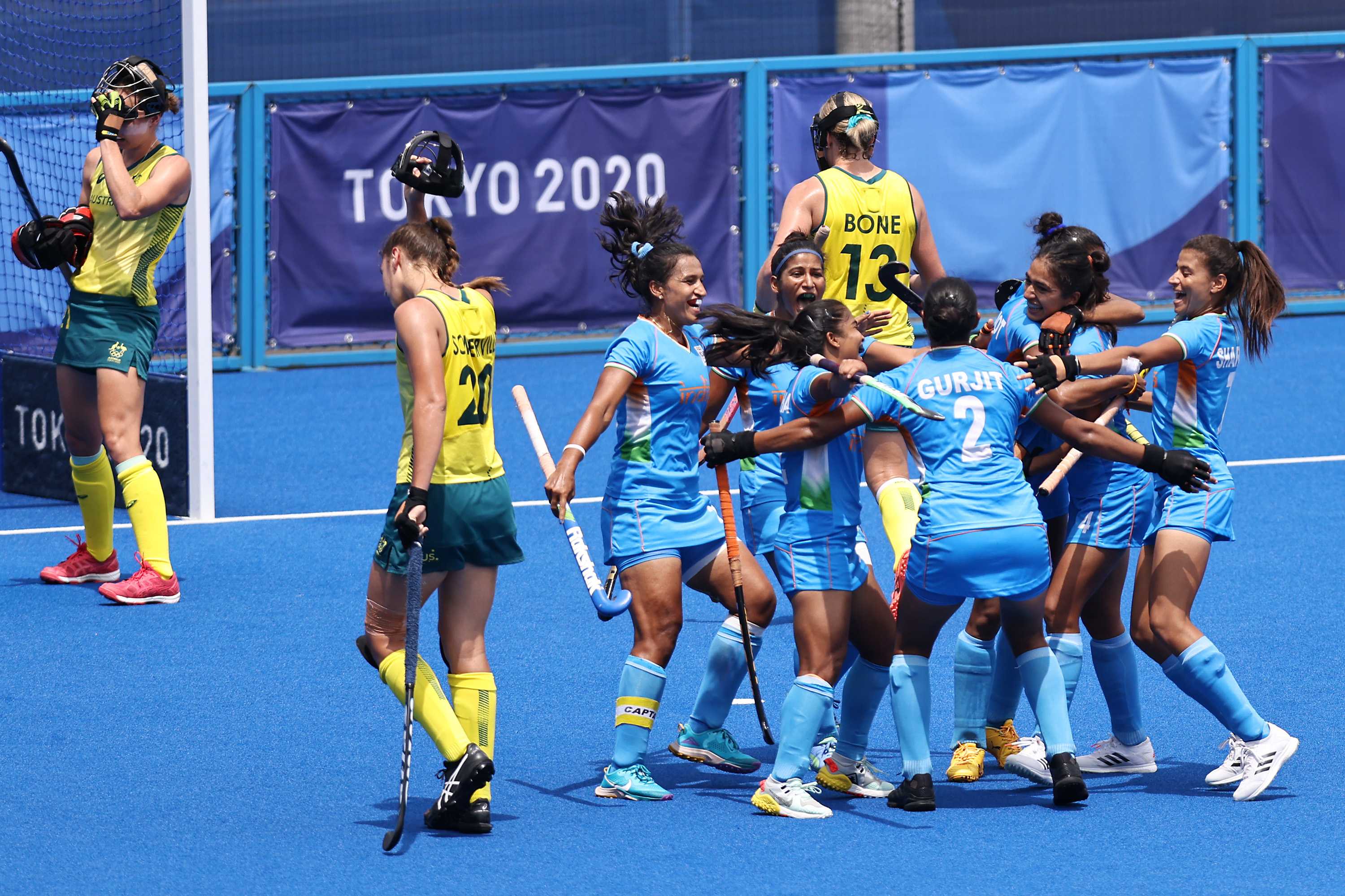 the Indian women's hockey team etched its name in the history books by entering the semifinals for the first time, stunning three-time champions and world number 2 Australia 1-0
