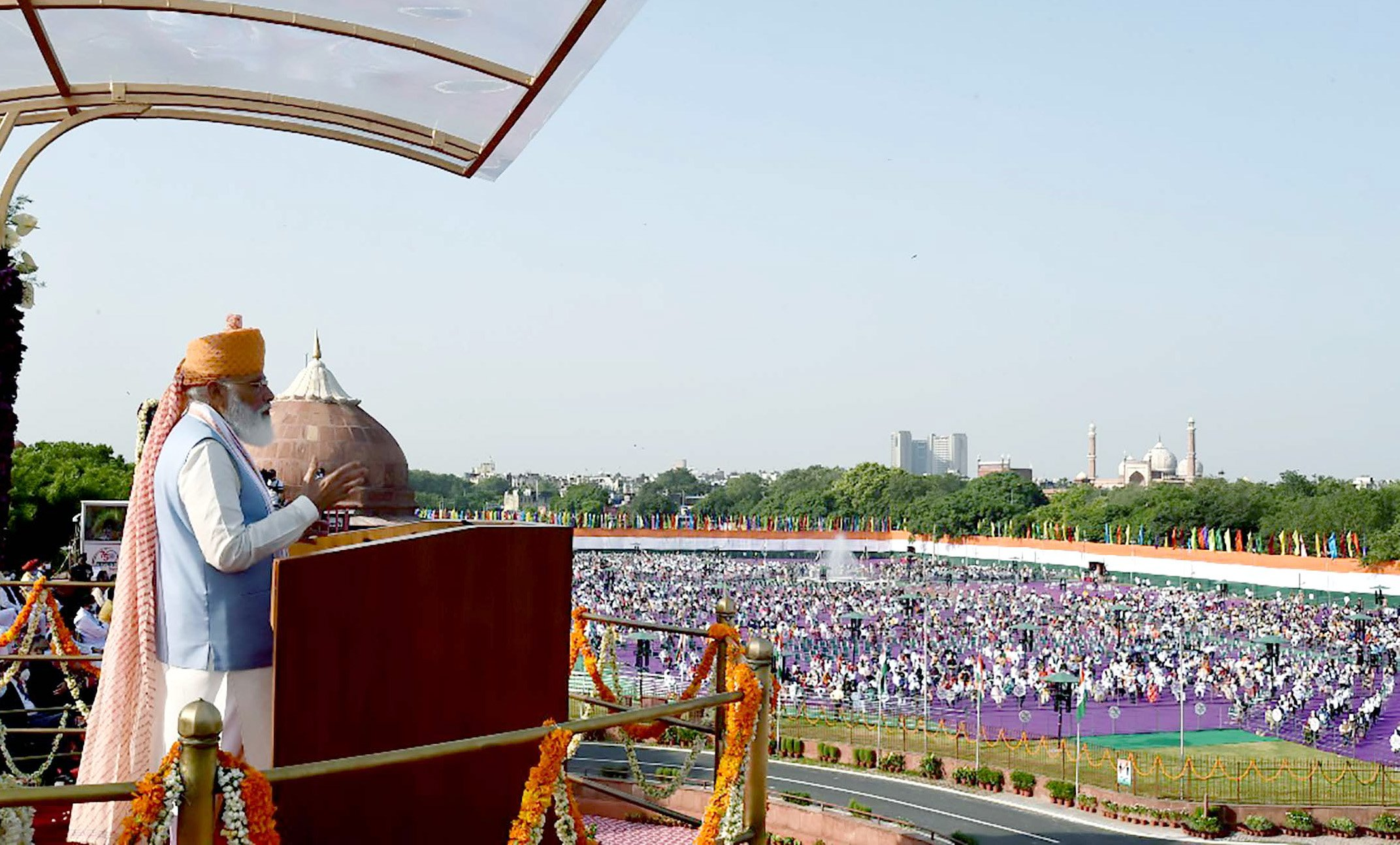 Prime Minister Narendra Modi addressed the nation from the Red Fort in New Delhi