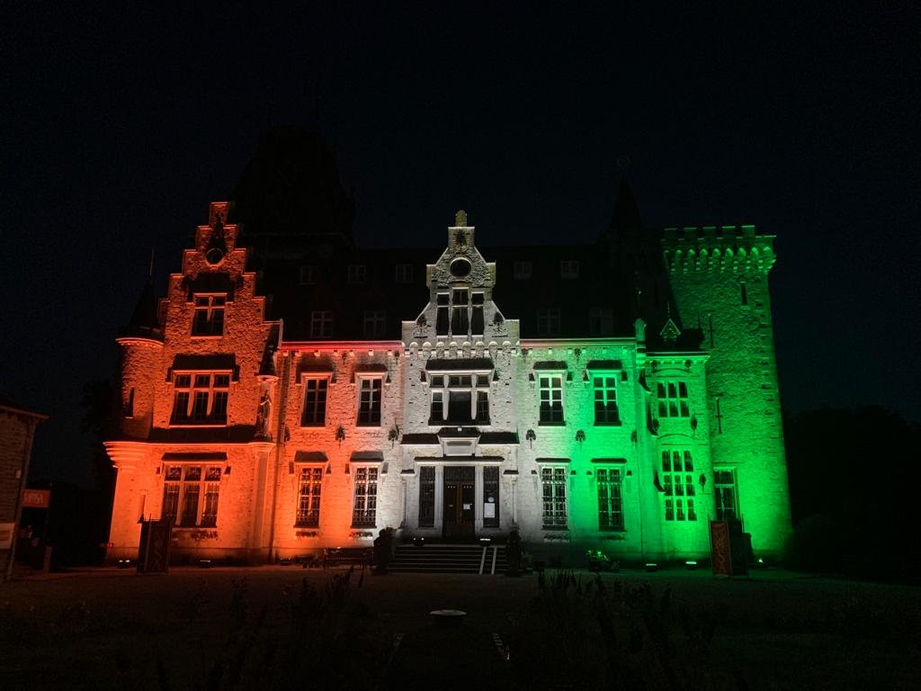 The tricolor flag of India lights up on the iconic Chateau de Petite Somme in the hills of Ardennes in Belgium  @PIB_India