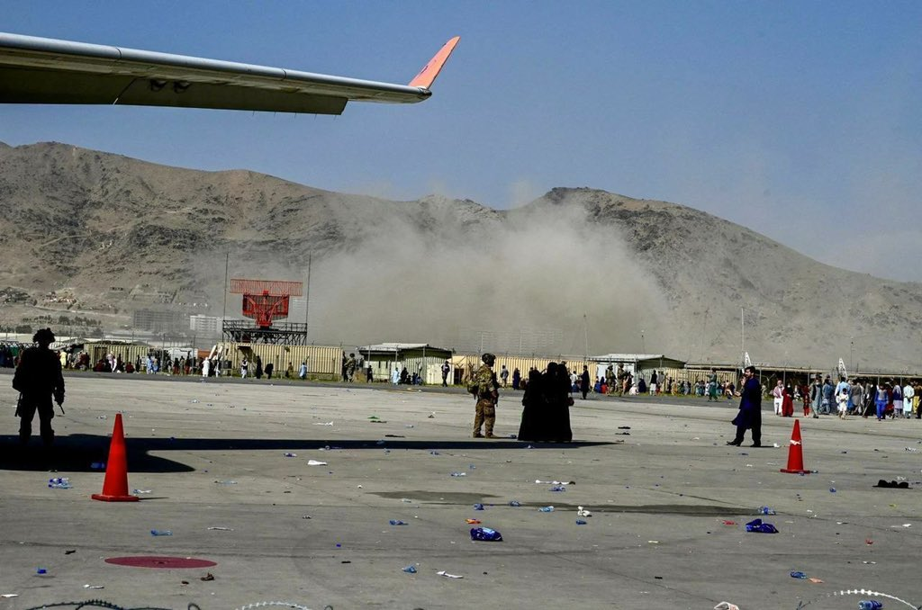 The US embassy in Kabul later released an alert warning of credible threats at specific areas of the airport, including access gates.