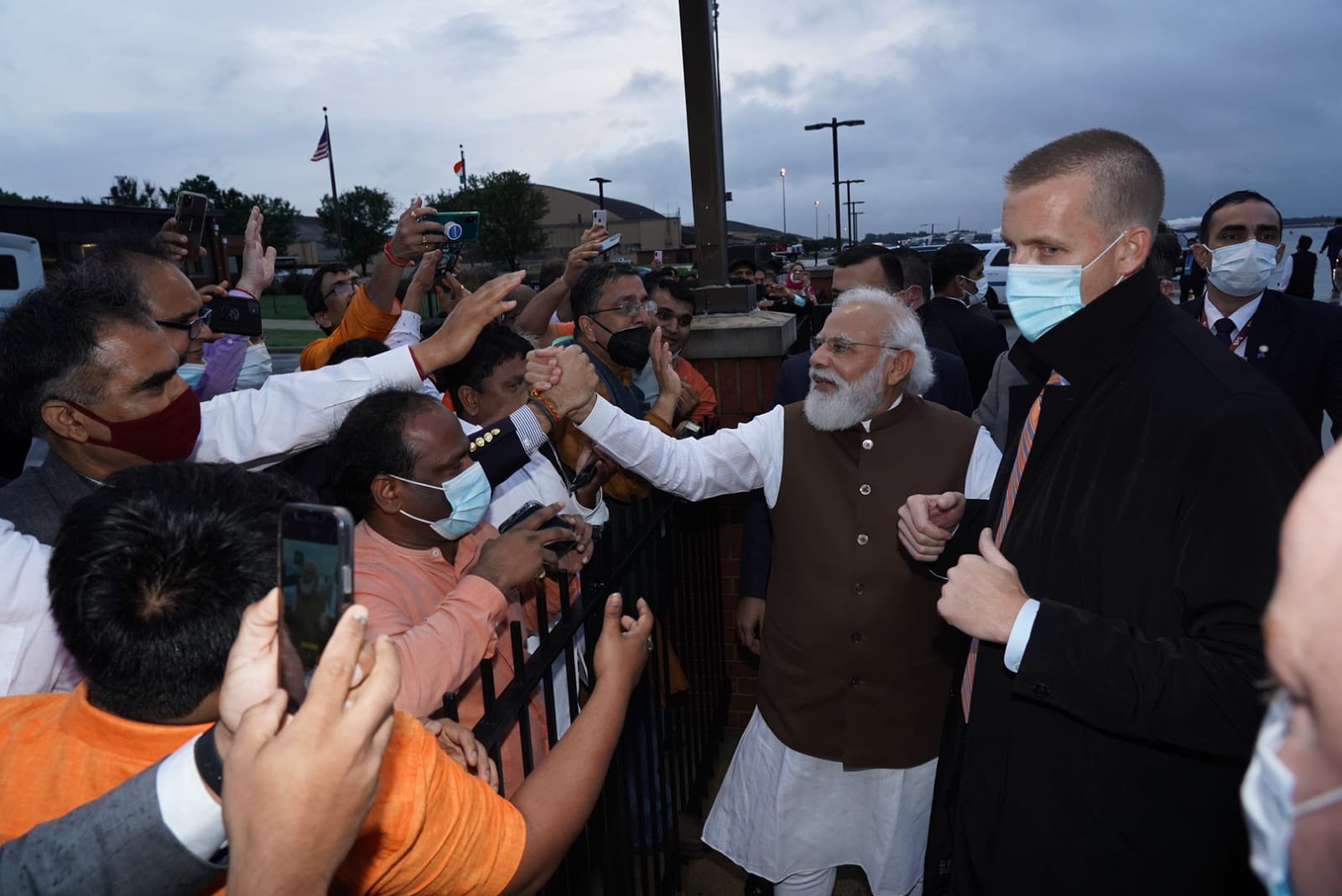 Modi was also warmly greeted by groups of Indian-Americans at the airport soon after his plane landed