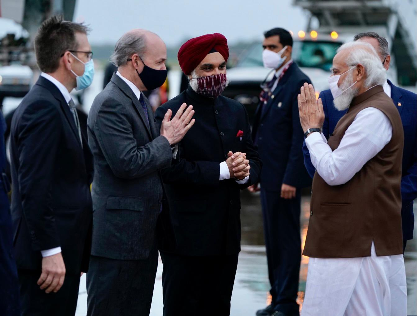 was received at the airport by senior officials of the Biden Administration and India's Ambassador to the US, Taranjit Singh Sandhu.