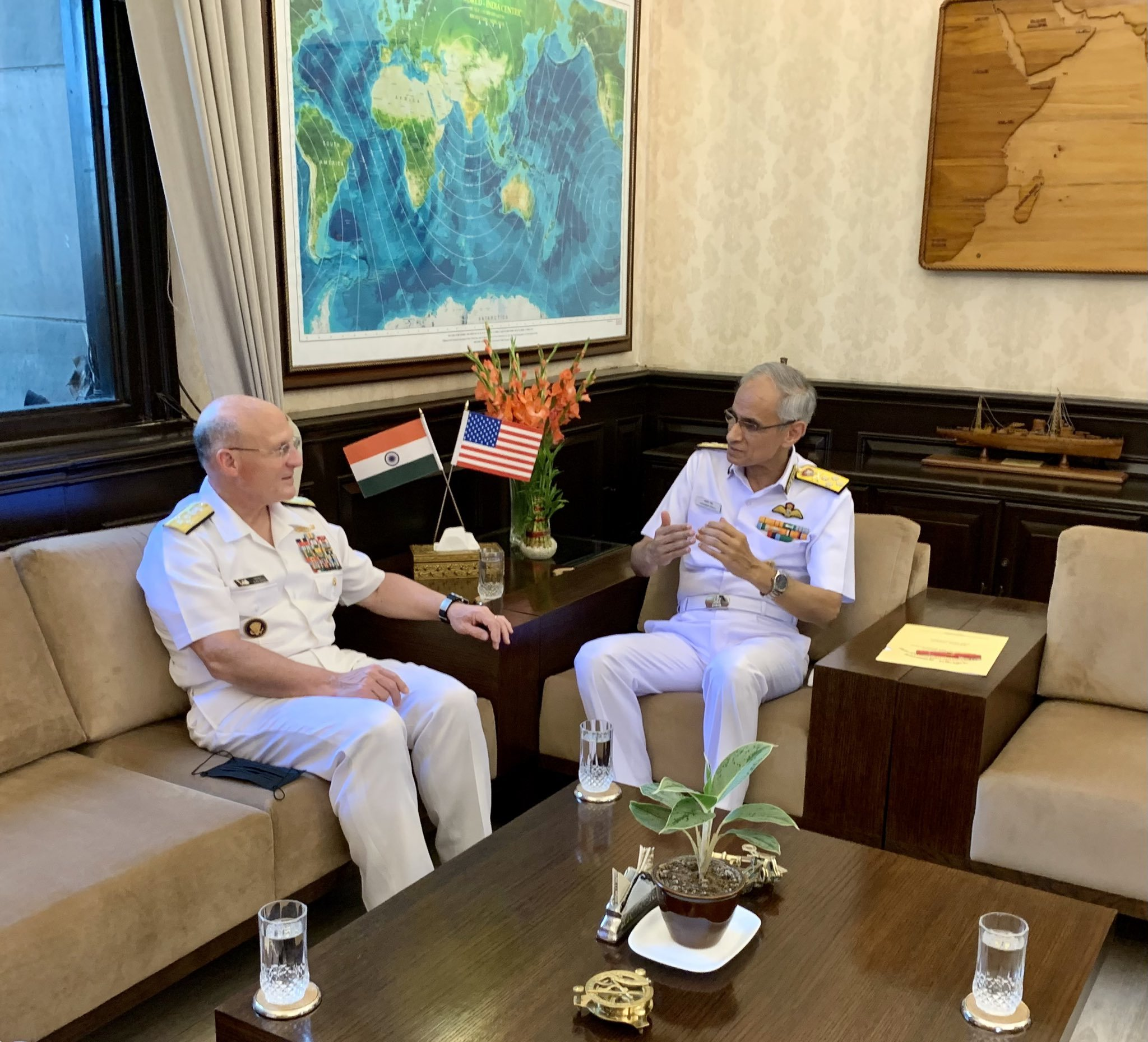 US Chief of Naval Operations (CNO) Admiral Michael Gilday held a meeting with Indian Navy Chief Admiral Karambir Singh