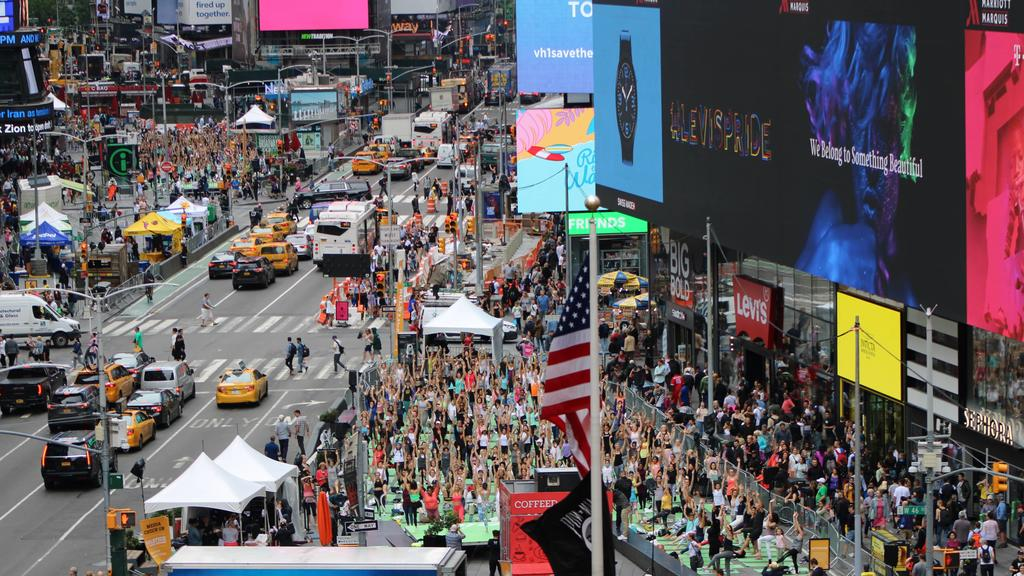In Pics: Yoga in Times Square on Summer Solstice Day